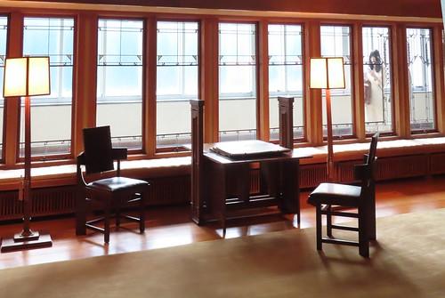 Frank Lloyd Wright's design for the Living Room from the Minnesota house built for the Little family, 1912