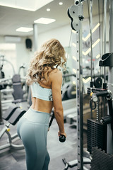 Attractive beautiful girl working on cross machine in the gym