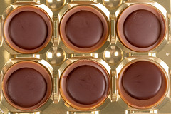 Top view of caramel and chocolate candies