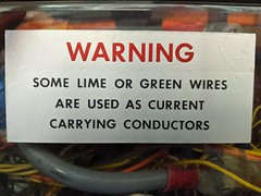 Warning about wire colors, secret hardware archive, Computer History Museum, Mountain View, California, USA