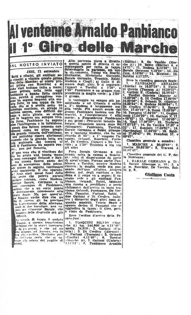 Articolo Gazzetta dello Sport - prima edizione Giro delle Marche (anno 1955)