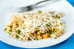 Cooked Vegetables with Pasta and Grated Cheese