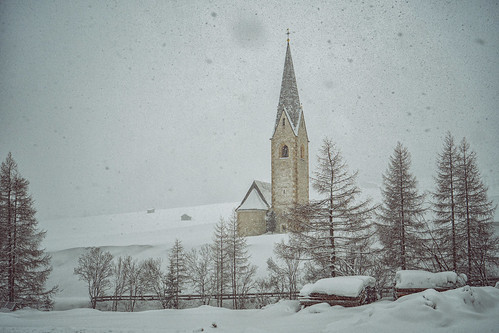 Kals, Tyrol, St. Georg and snowfall
