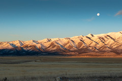 The Oquirrh's in the Morning with the Moon