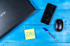 Business Goals concept with Lap Top and Mobile phone