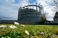 Outside the building of the European Parliament in Strasbourg