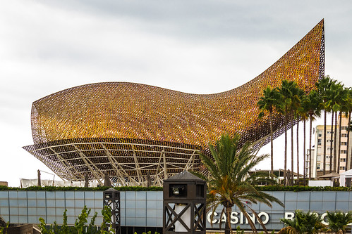 Spain - Barcelona - Olympic Golden Fish (Frank Gehry) and Casino