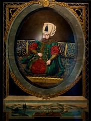 Portrait of Sultan Selim II [c.1566-74] with an architectural frame inspired by European engravings (Turkey, Instambul, Ottoman period, first quarter of the 19th century)