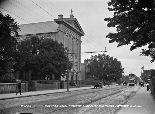 Rathgar Road showing the Chapel of the Three Patrons (including a tram), Dublin City, Co. Dublin