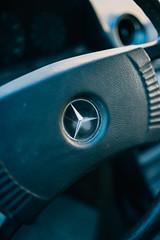 Vintage Mercedes logo on steering wheel