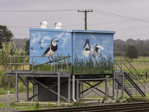Hexham NSW - Public Art on 3 x railway buildings