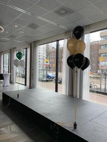 Tafeldecoratie 6ballonnen Gronddecoratie Intell Hotel Mainport Rotterdam