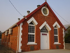 Warracknabeal Salvation Army Citadel. Foundation stone laid in 1893. Now used as a Baptist Church.The  Baptists took over the 1908 Presbyterian church which is across the street. Now they are in the Salvation Hall.