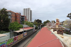 View of top of South Melbourne tram stop and Park Street Towers