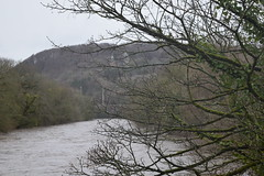The River in full spate Storm Dennis in Tongwynlais