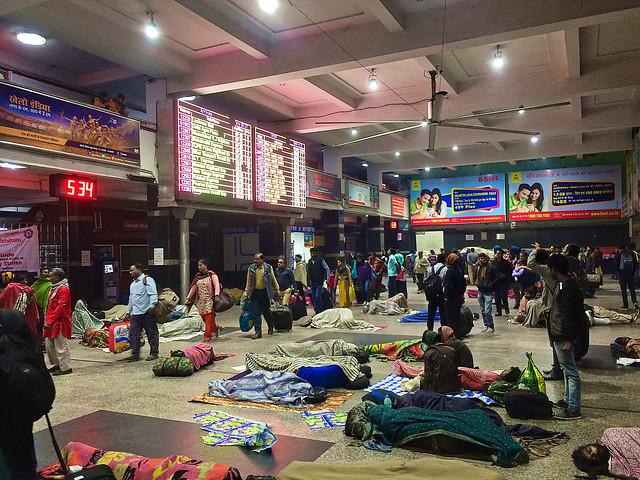 India, New Delhi - Sleeping at New Delhi railway station - February 2018