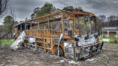 Destroyed bus