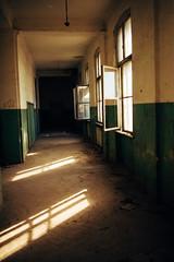 Grungy corridor of abandoned school