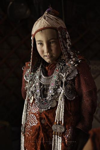 Kyrgyz girl in Erghail village. Pamir Mountains. Afghanistan.
