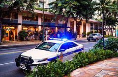 Honolulu Police Squad Car with Emergency Blue Lights