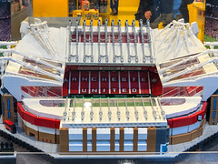 Large 3D replica model of Manchester's Old Trafford football stadium on display at the LEGO shop in Cologne, Germany