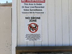No Drone Zone sign, Yeti Park, Wrightwood, California, USA