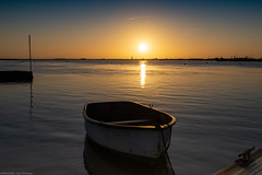 Rowing boat and sunrise at Orford
