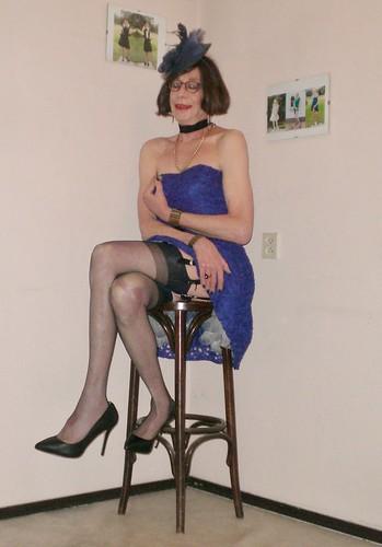 Blue strapless dress.