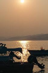Sunset on the sea in Greece.
