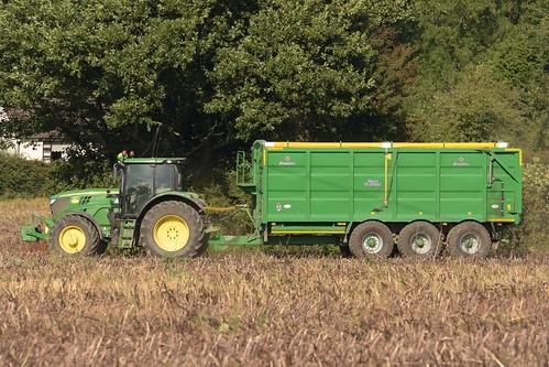 John Deere 6155R Tractor with a Broughan Engineering Mega Hi-Speed Trailer