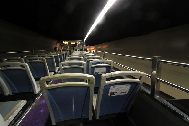 Passing through the Cross Harbour Tunnel on the top deck of an open top bus