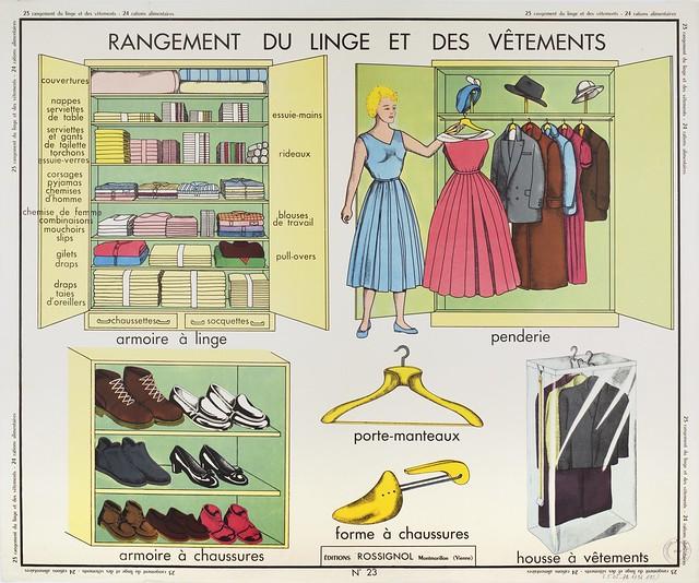 Photo:Tableaux de travaux ménagers : 23-rangement du linge et des vêtements; 24-rations alimentaires By museenationaldeleducation