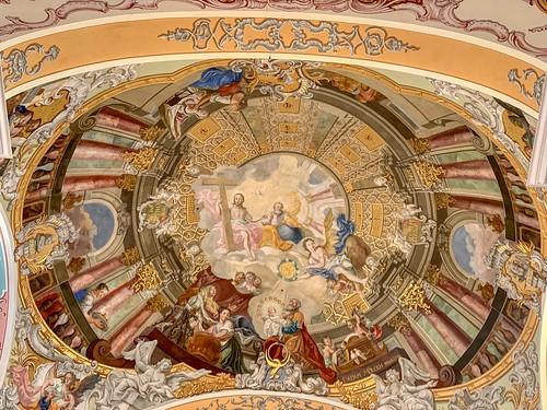 Painting on the ceiling of parish church Maria Himmelfahrt in Ebbs, Tyrol, Austria