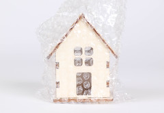 House packed in bubble wrap