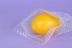 Lemon packed in bubble wrap