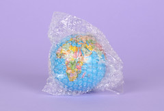 Globe packed in bubble wrap