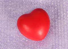 Heart on bubble wrap