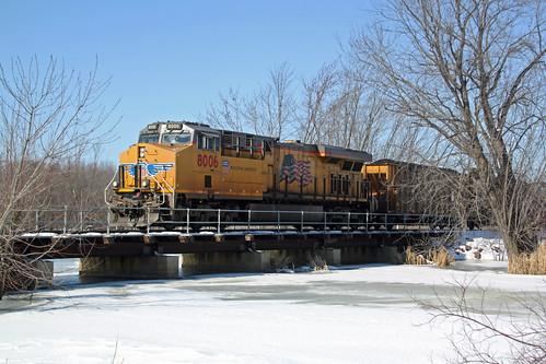 Coal loads crossing a frozen Duck Creek