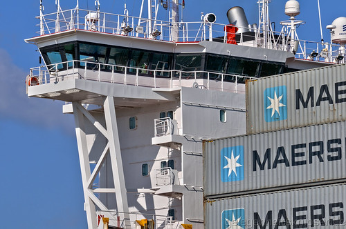 Ruderhaus des Containerfrachters