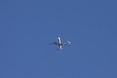 Emirates Boeing 777-300 A6-EQL DXB-STN FL90 EK65 UAE65 with, in the distance behind, Air Canada Boeing 767-300 AMS-YYZ ACA825 AC825
