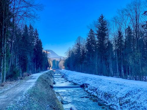 Jennbach creek in winter near Ebbs, Tyrol, Austria
