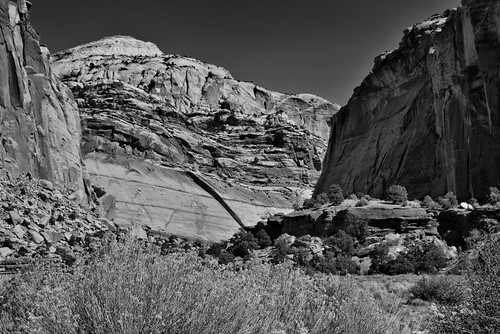 Canyon Walls Along the Capitol Gorge (Black & White, Capitol Reef National Park)