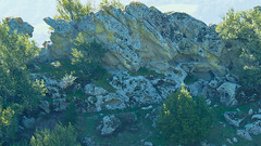 Tafoni rock formations with springtime backlighting, Las Trampas
