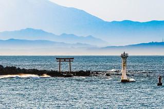 Yujiro lighthouse and Torii