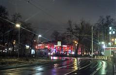 Moscow tram Novokuznetskaya night