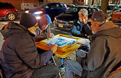 Dominos by phone light - Brooklyn, NYC