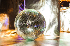 Silver Glitter Disco Ball On The Stage