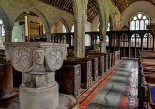St Nonna's Church, Altarnun, Cornwall - Norman font