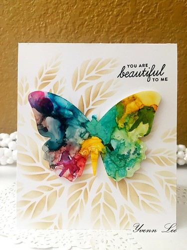 """""""You're beautiful to me"""" I colored the butterfly with the alcohol inks and used the distress oxide with the beautiful stencil from @simonsaysstamp ssst#121449  for the background as well."""