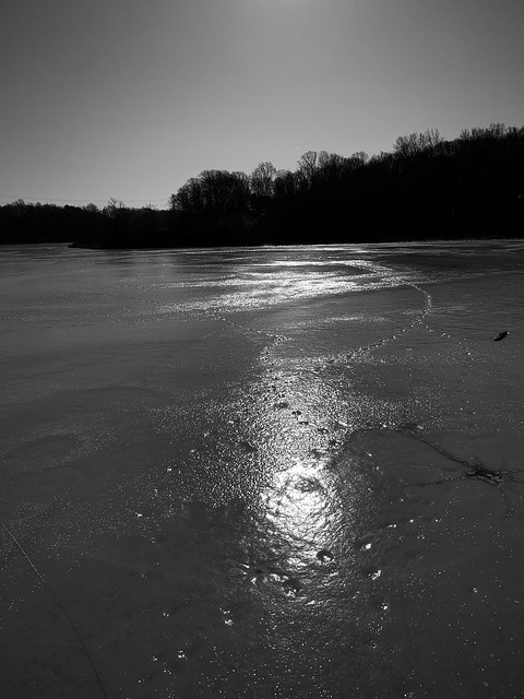 Reflection on a frozen lake